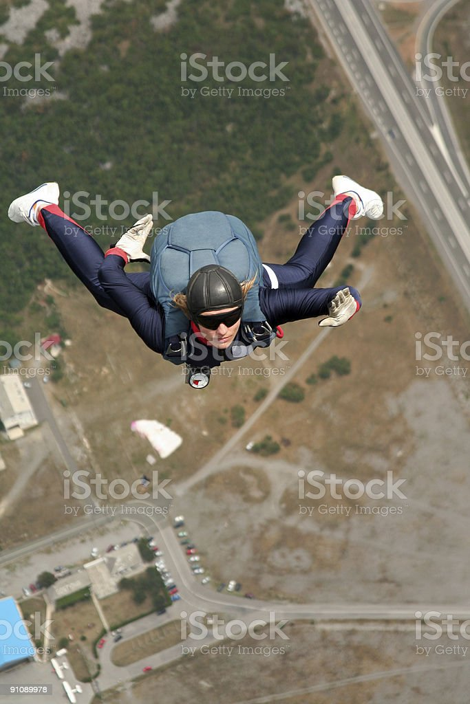 Opening of the parachute royalty-free stock photo