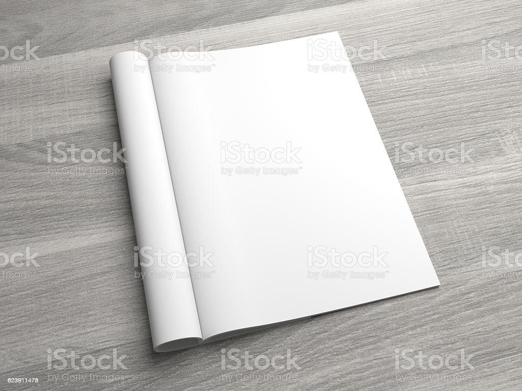 Opening pages 3D illustration magazine mock up on wood stock photo