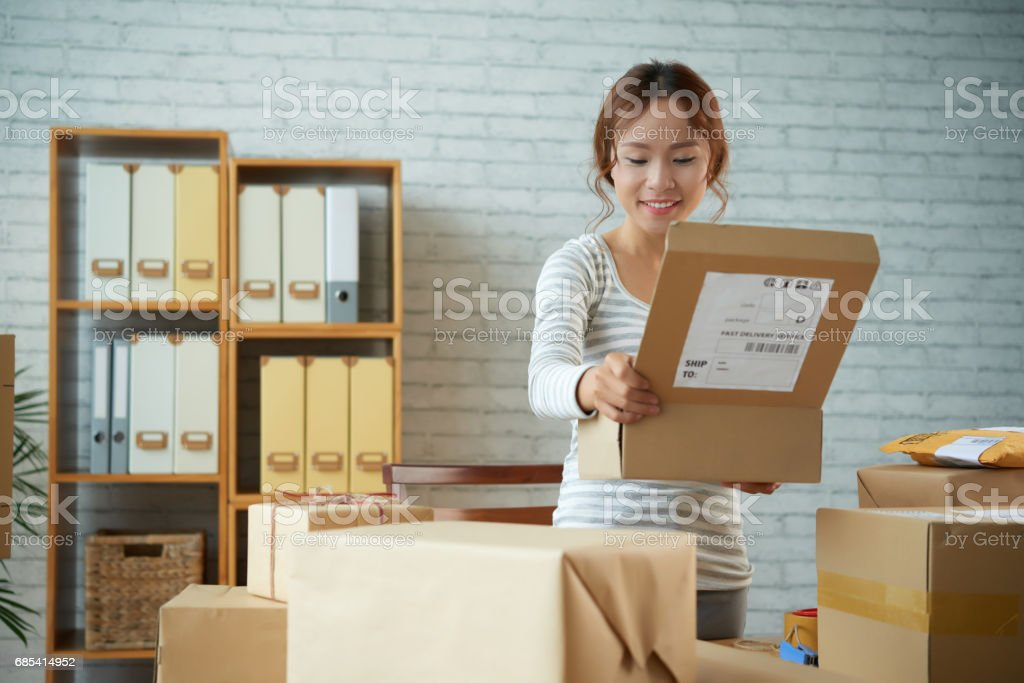 Opening parcel stock photo