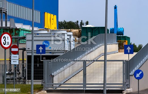 Bucharest, Romania - June 24, 2019: The IKEA building and its cargo entrance are seen in the opening day of the IKEA Pallady store, which is the second in Bucharest and elsewhere in Romania.