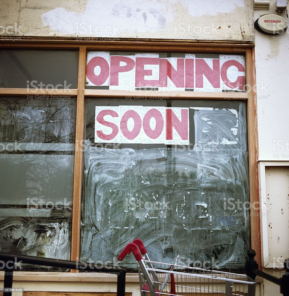 Opening soon store sign royalty-free stock photo