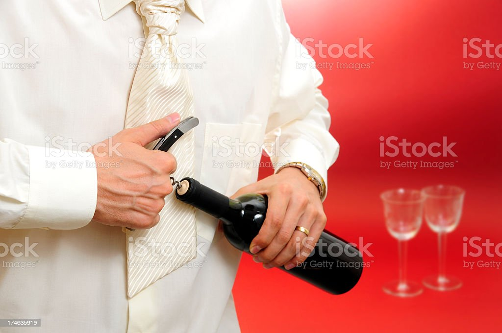Opening the bottle royalty-free stock photo