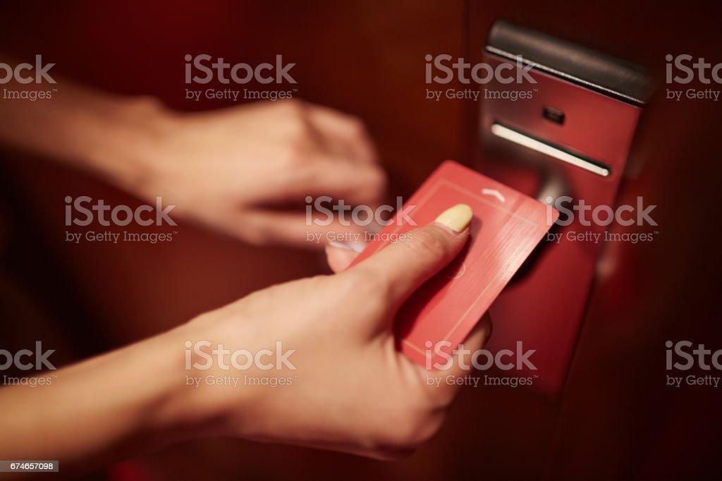 Opening the door stock photo