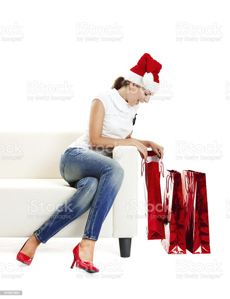 Opening the presents royalty-free stock photo