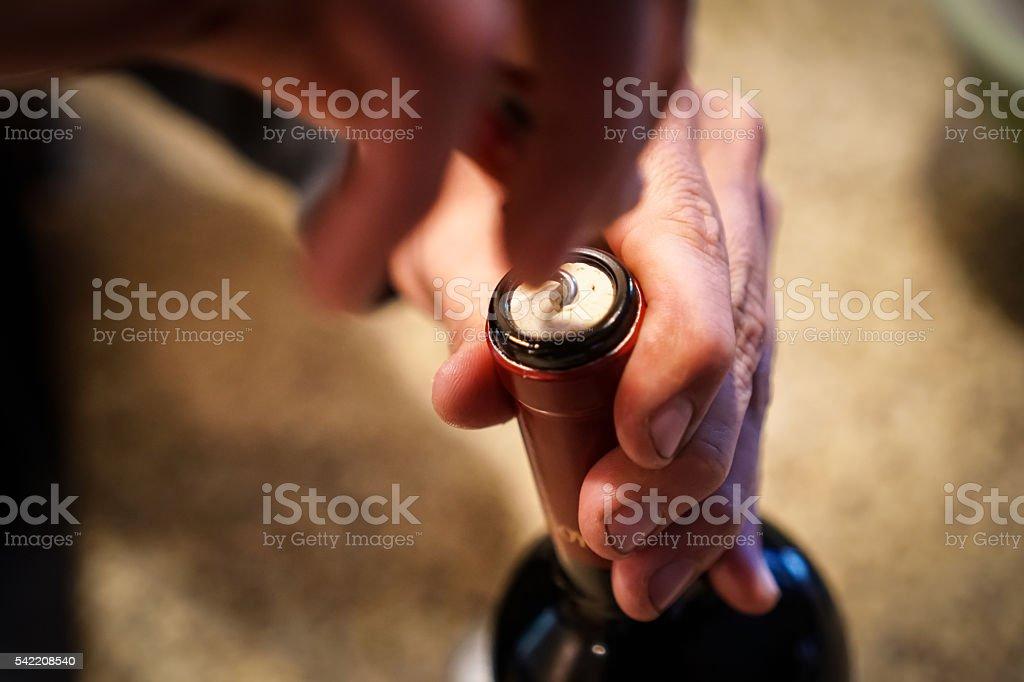 Opening wine stock photo