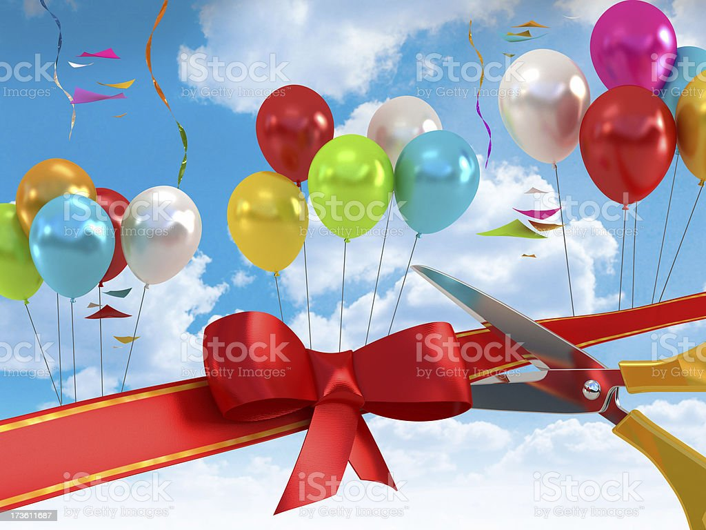 Opening with balloons, red ribbon and scissors stock photo