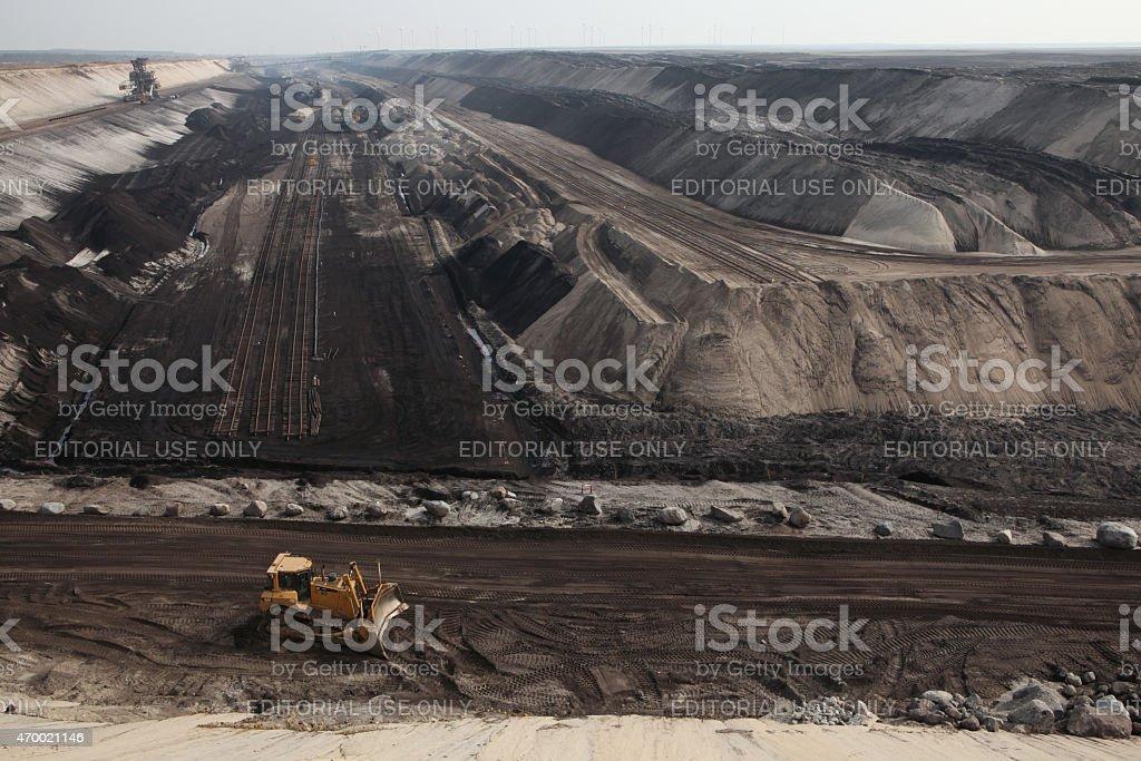Open-pit coal mining near Cottbus, Brandenburg, Germany. stock photo