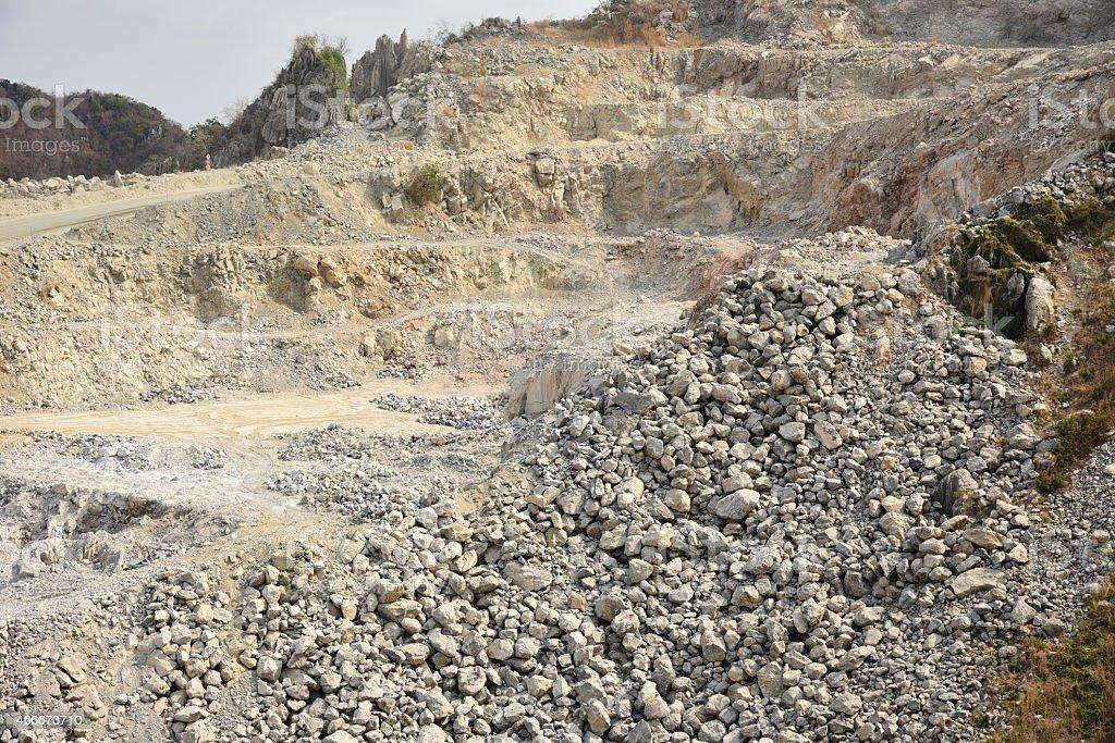 Openpit Limestone Mining Cambodia Stock Photo - Download
