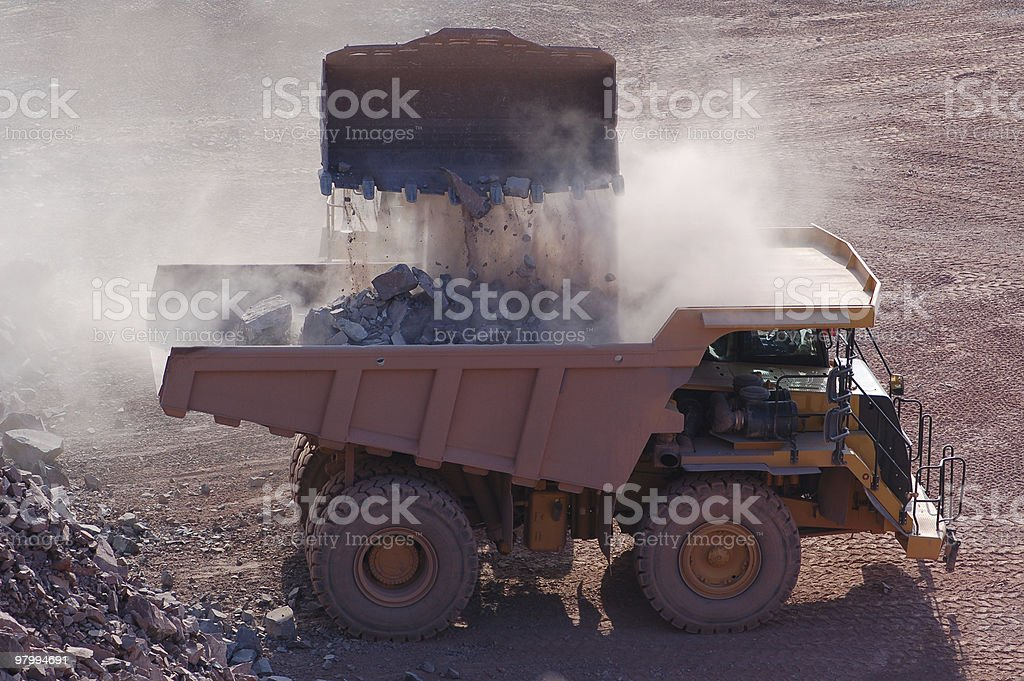 Open-pit Mine with Earth Mover and Dump Truck royalty-free stock photo