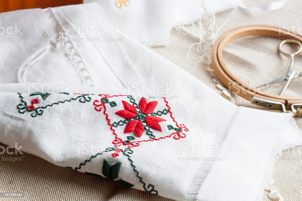 Openwork embroidery, incomplete work in progress and tools for embroidery royalty-free stock photo