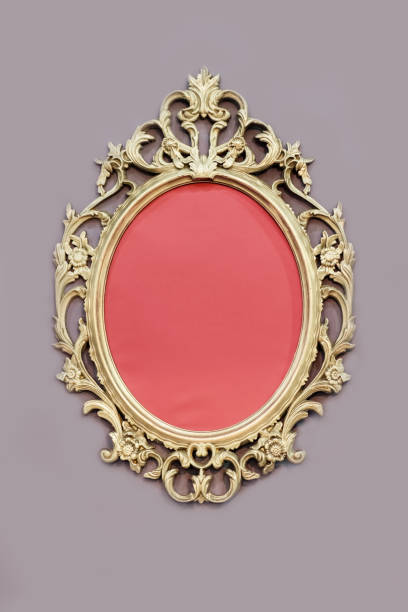Openwork oval golden colored frame stock photo