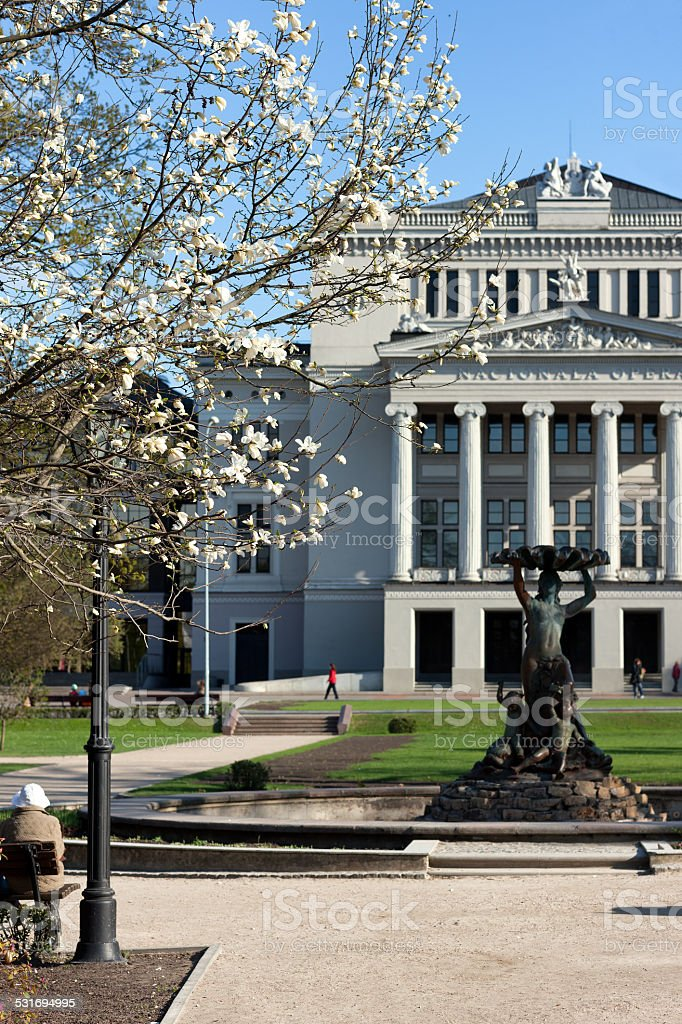 Opera and Ballet Theatre with antique sculpture stock photo