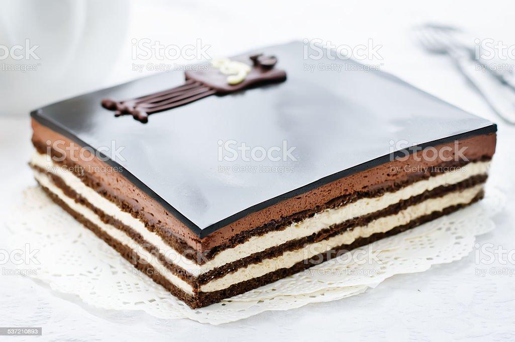 Opera cake stock photo