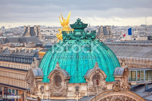 opera Dome and aerial view of Paris