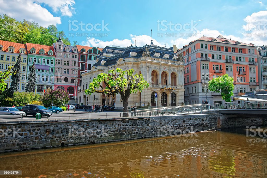 Opera House and Bridge above Tepla River in Karlovy Vary stock photo