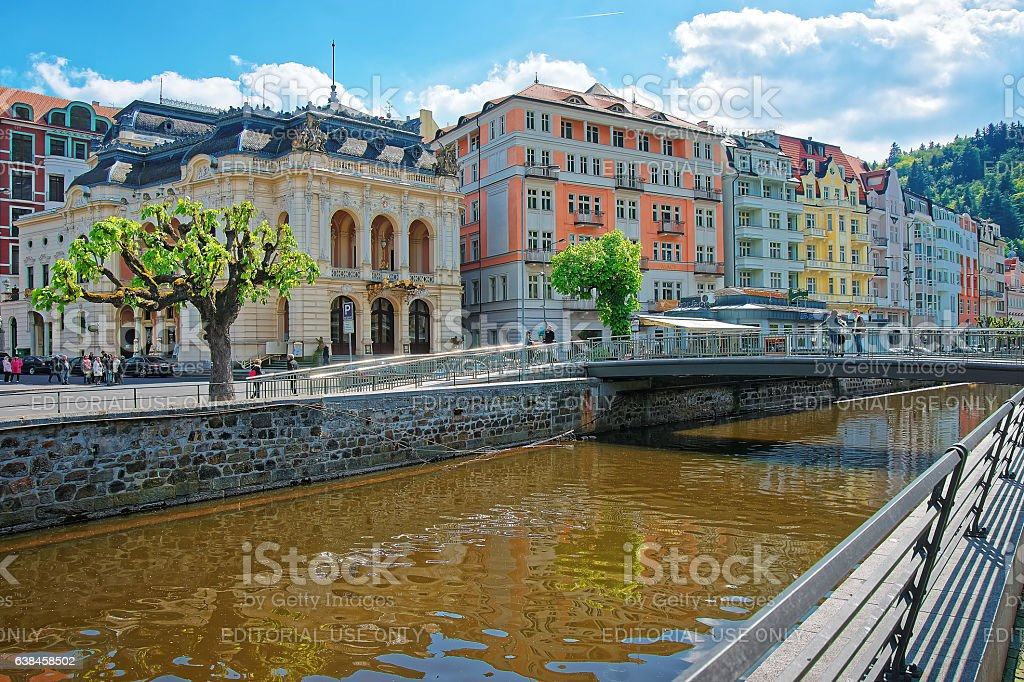 Opera House and Bridge over Tepla River in Karlovy Vary stock photo