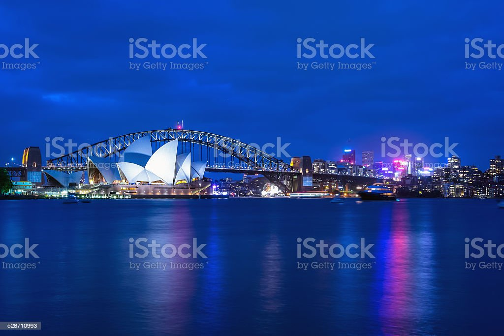 Opera House and Harbor Bridge at twilight. stock photo