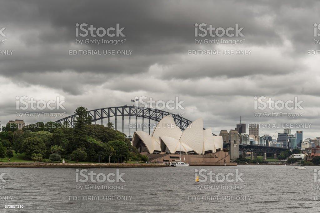 Opera House and Harbour Bridge under cloudscape, Sydney Australia. stock photo