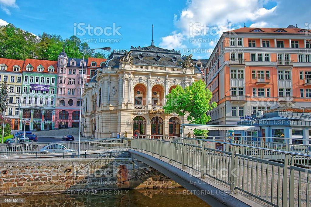 Opera House and Promenade in Karlovy Vary stock photo