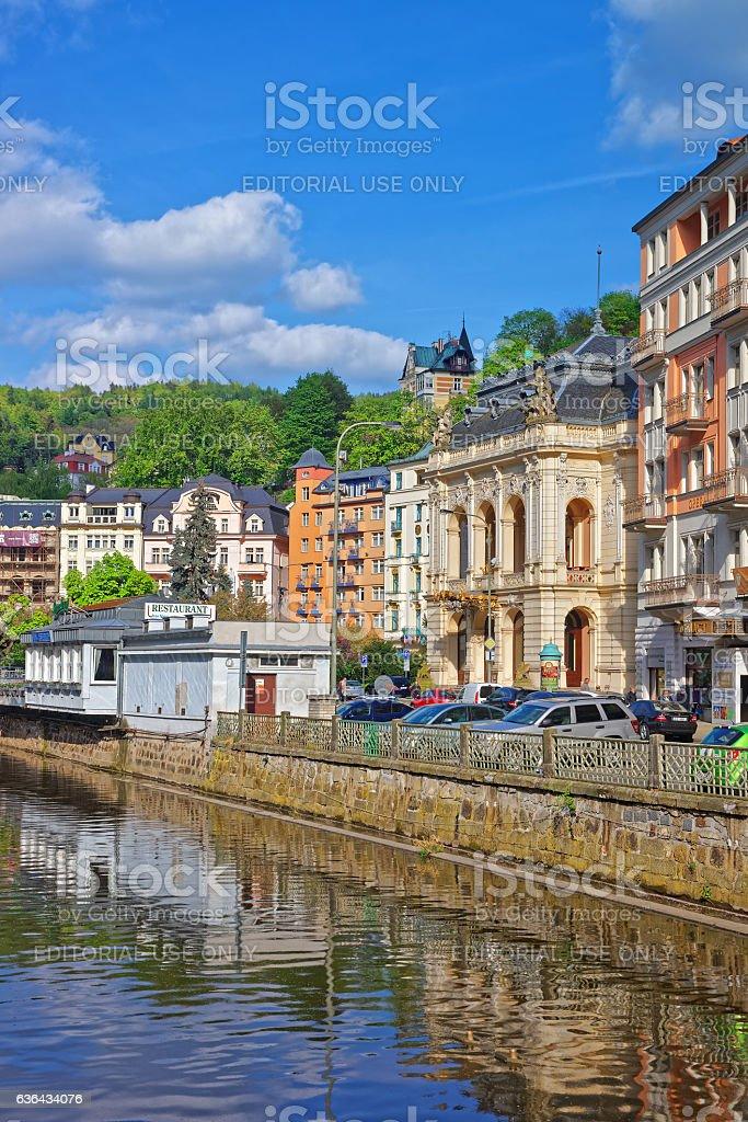 Opera House at Embankment in Karlovy Vary stock photo