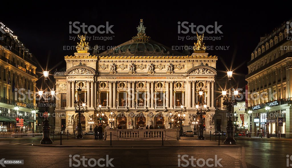 Opera house (Grand Opera; Opera Garnier) at night. Paris, France stock photo