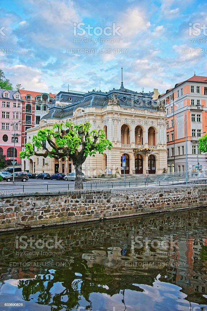 Opera House at Tepla River of Karlovy Vary stock photo