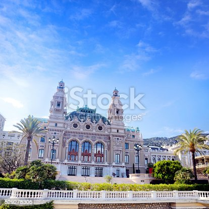 Seaside facade of the Salle Garnier, Opera de Monte-Carlo, Monaco. It opened in 1879