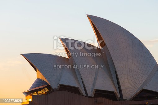Sydney, Australia - July 19, 2018: Close-up view of Sydney Opera House under the morning sunlight with clear sky.