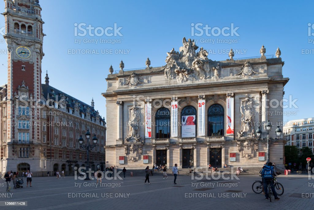 Opera of Lille Lille, France - June 22 2020: The Opéra de Lille is a neo-classical opera house, built from 1907 to 1913 on the place du Théâtre next to Chamber of Commerce. Architecture Stock Photo
