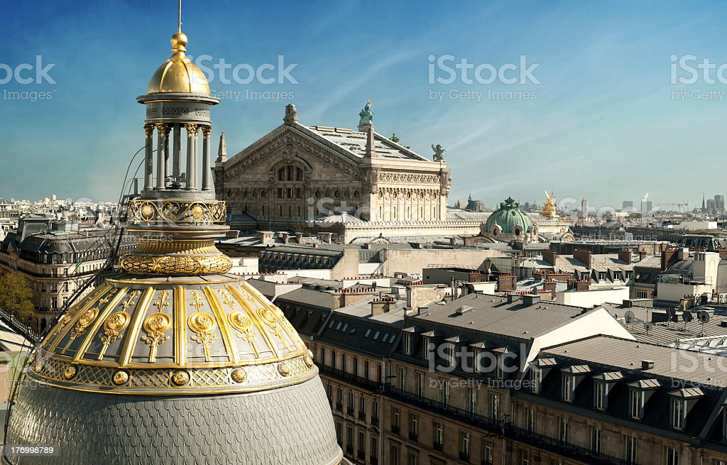 Opera of Paris view from roof - France stock photo