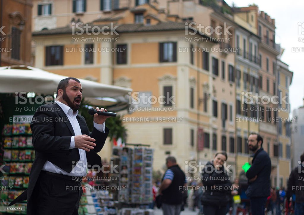 Opera Singer Busker in Tuxedo Sings in Piazza Spagna, Rome stock photo