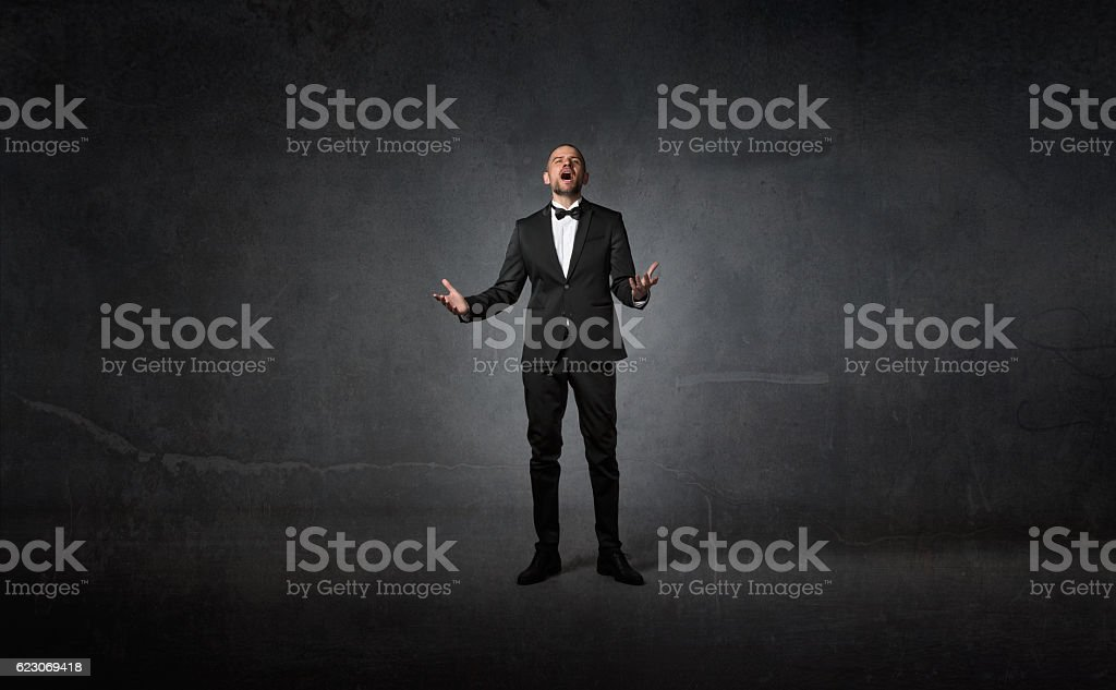 opera singer using voice stock photo