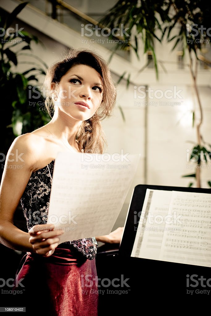 Opera Singer with Music Sheets royalty-free stock photo
