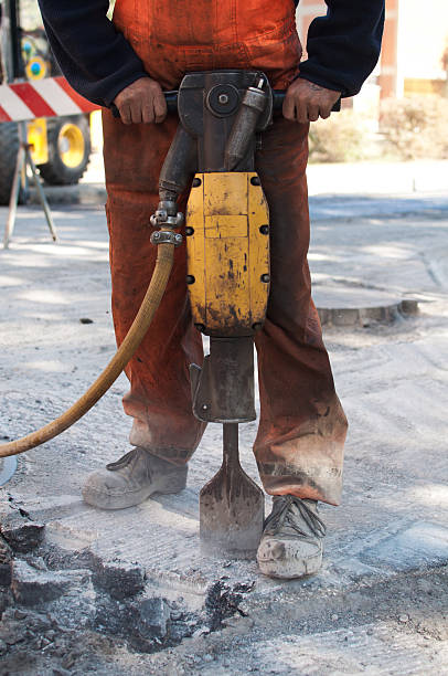 Operating A Jackhammer stock photo