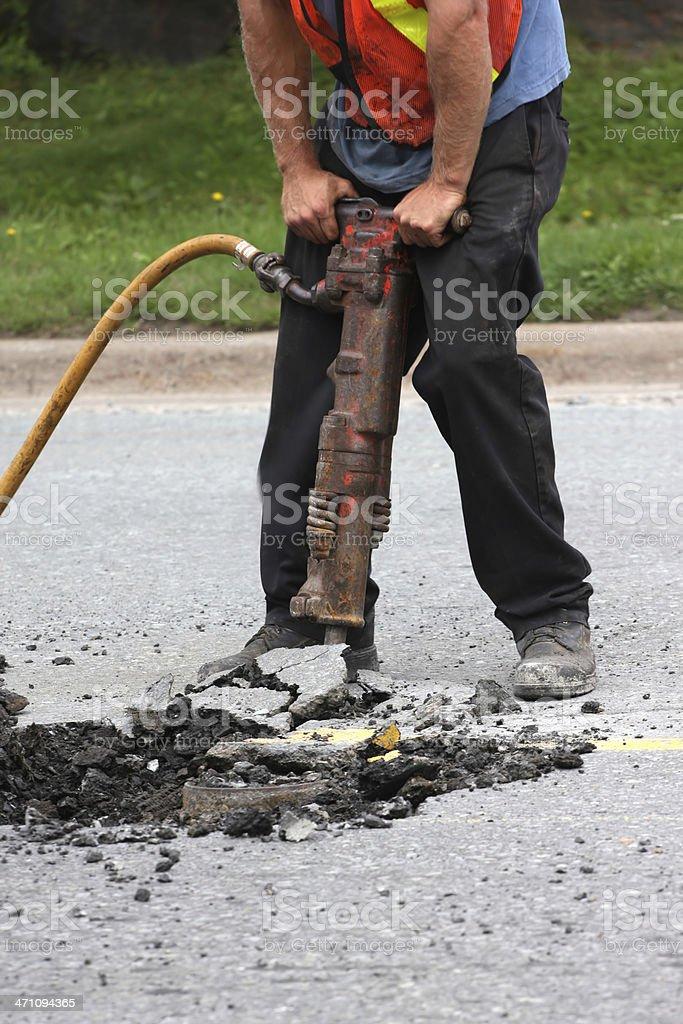 Operating A Jackhammer stock photo