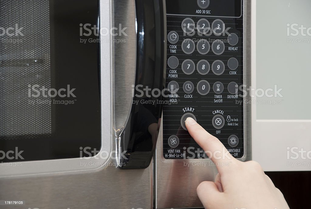 Operating a microwave stock photo