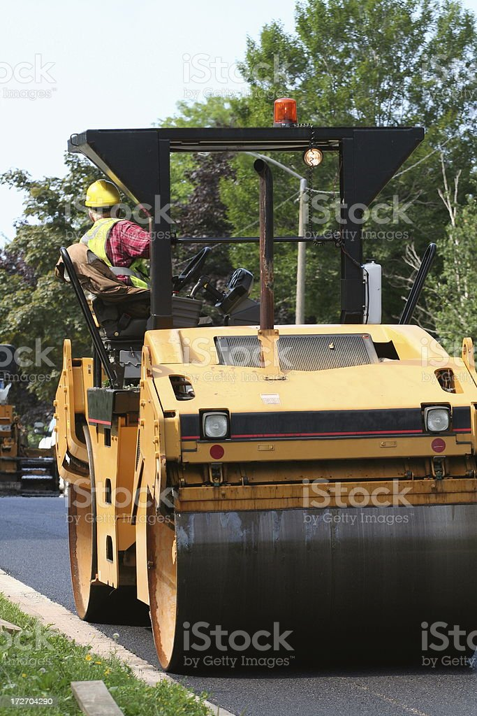 Operating A Steamroller royalty-free stock photo