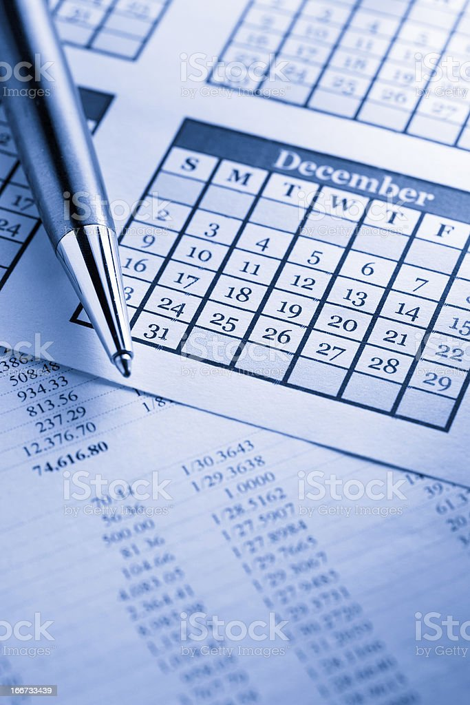 Operating budget, calendar and pen royalty-free stock photo