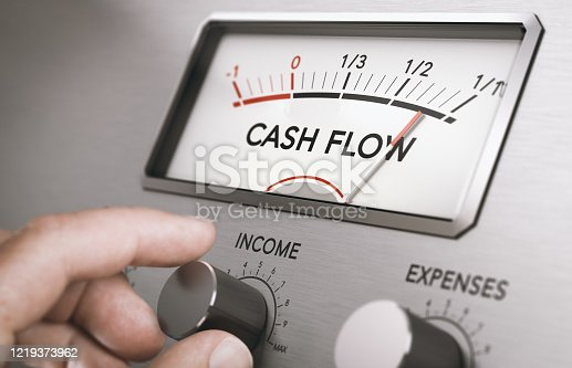 Man turning income knob to increase cash flow amount. Concept of good management of liquidities in a company. Composite image between a hand photography and a 3D background.