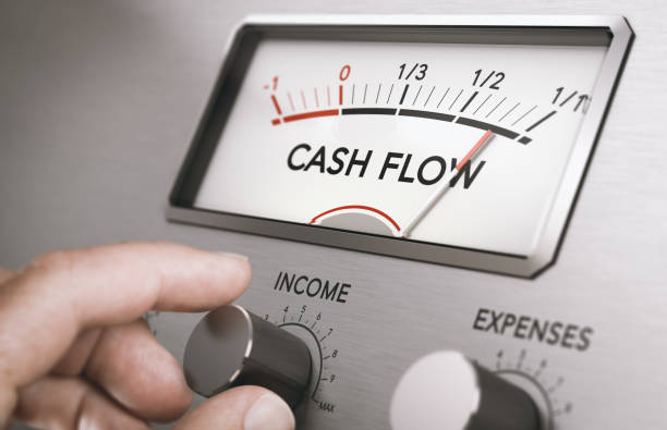 Operating cash flow management. Manage business liquidities. Man turning income knob to increase cash flow amount. Concept of good management of liquidities in a company. Composite image between a hand photography and a 3D background. cash flow stock pictures, royalty-free photos & images