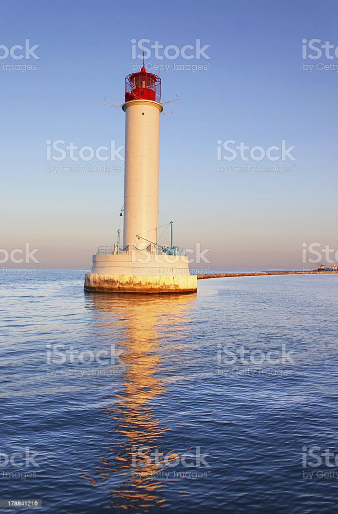 Operating lighthouse in Odessa. Ukraine. Black sea royalty-free stock photo