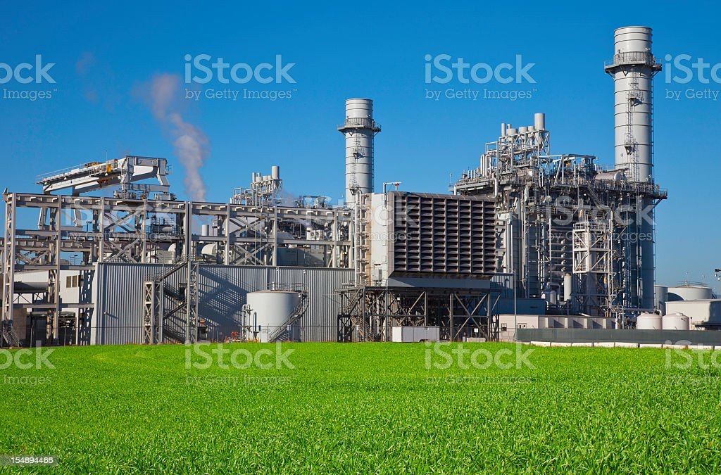 Operating natural gas-fired electrical power plant royalty-free stock photo