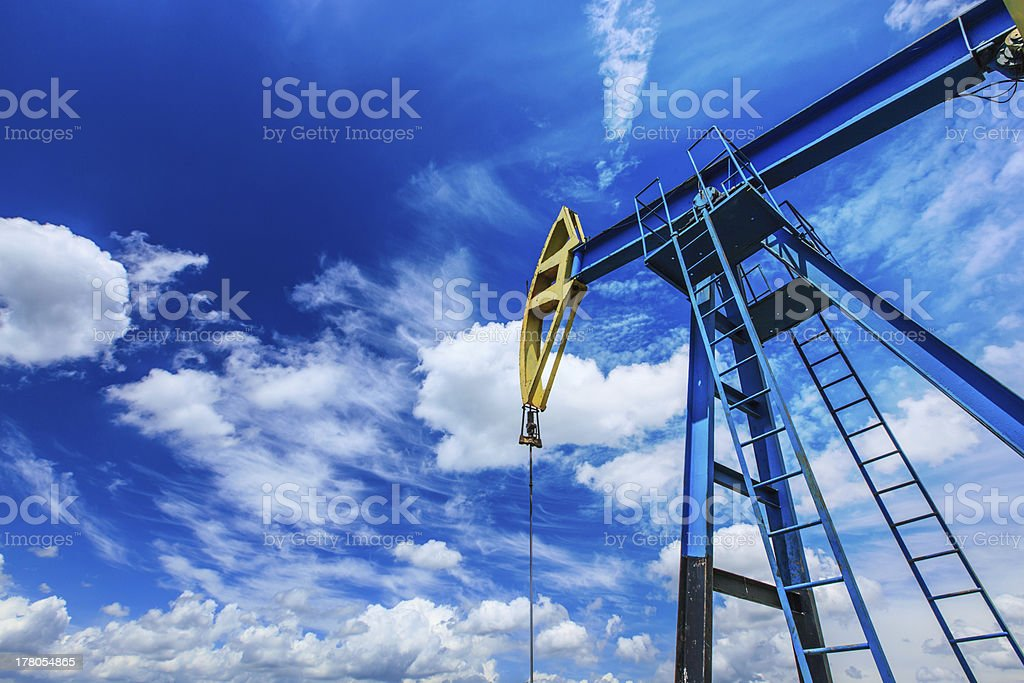 Operating oil and gas well detail stock photo