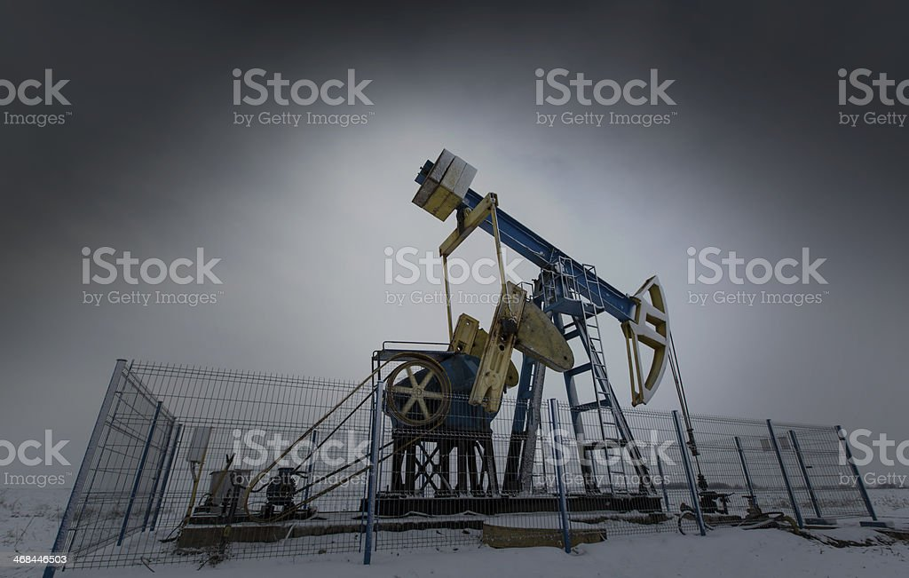 Operating oil and gas well stock photo