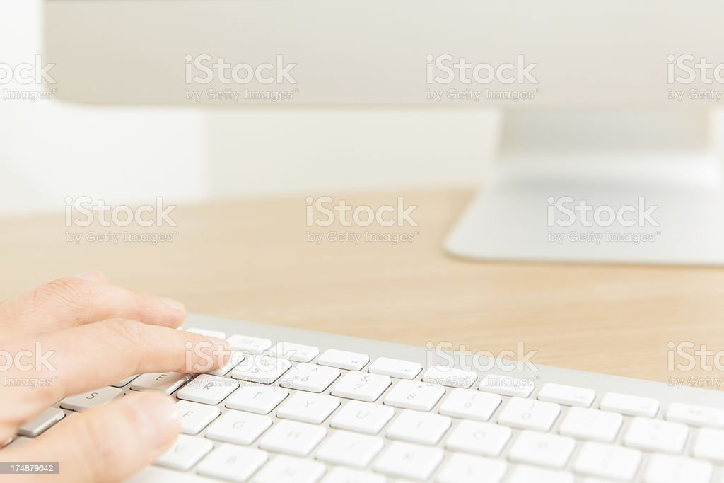 Operating on the computer royalty-free stock photo