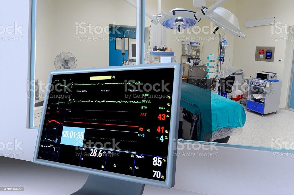 operating room monitors stock photo