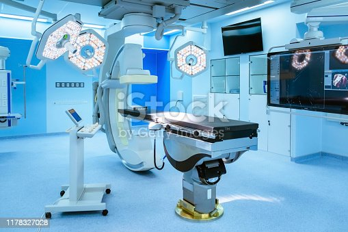 Equipment and medical devices in hybrid operating room blue filter , Surgical procedures , the operating room of the Future.