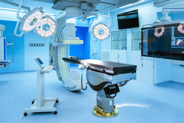Operating room. Equipment and medical devices in hybrid operating room blue filter , Surgical procedures , the operating room of the Future. genetic modification stock pictures, royalty-free photos & images