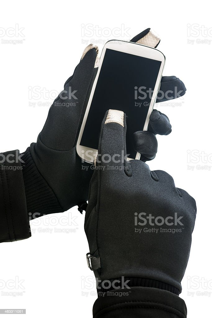 Operating with mobile device stock photo