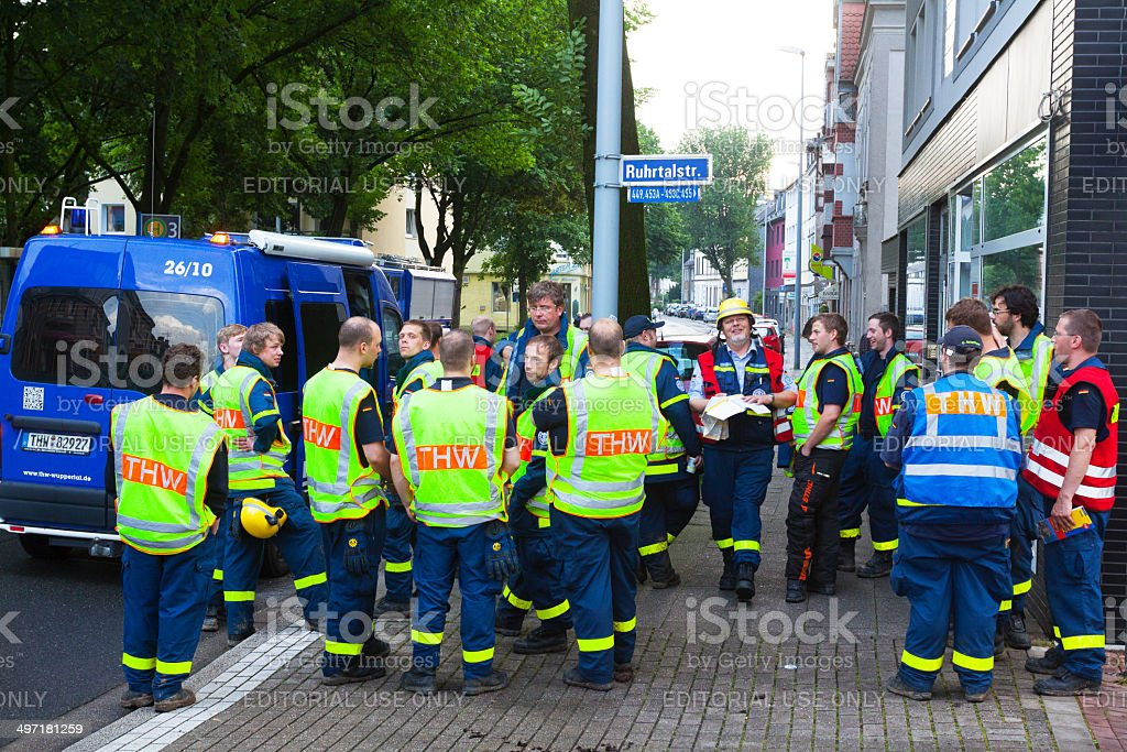 THW operation instructions in morning stock photo